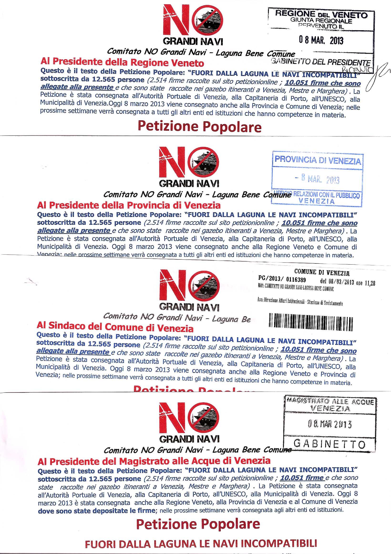 2013 03 08 Riscontri di consegna Petizione Popolare NOGrandiNavi